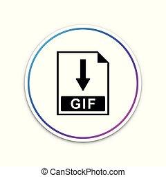 gif, bestand, document, icon., downloaden, gif, knoop, pictogram, vrijstaand, op wit, achtergrond., cirkel, witte , button., vector, illustratie