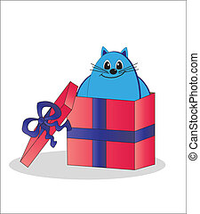 Gift - a cat in a box. Vector.