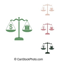 Gift and dollar symbol on scales. Russian green icon with small jungle green, puce and desert sand ones on white background. Illustration.