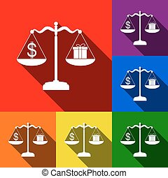 Gift and dollar symbol on scales. Vector. Set of icons with flat shadows at red, orange, yellow, green, blue and violet background.