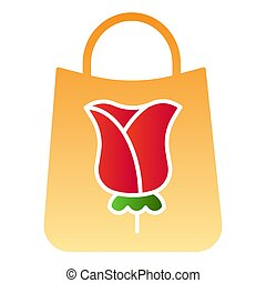 Gift bag flat icon. Flower on package color icons in trendy flat style. Paper shopping bag with rose gradient style design, designed for web and app. Eps 10.