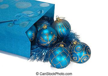 Gift bag full of christmas toys