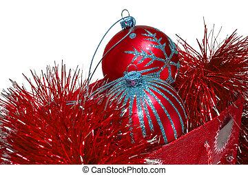 Gift bag full of red christmas toys