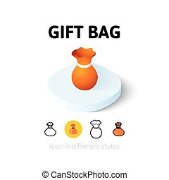 Gift bag icon in different style