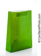 gift bag of green paper, isolated on white