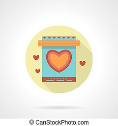 Gift bag with heart vector icon flat round style