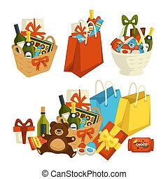 Gift basket with food, special occasion to celebrate vector...