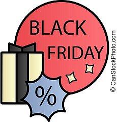 Gift, black friday, percentage color gradient vector icon