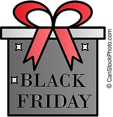Gift, black friday, the inscription color gradient vector icon