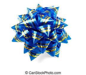 Gift blue bow isolated on white background