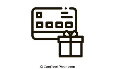 Gift Bought with Credit Card Icon Animation. black Gift Bought with Credit Card animated icon on white background