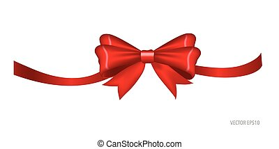 Gift bow and shiny red ribbon on white background with copy...