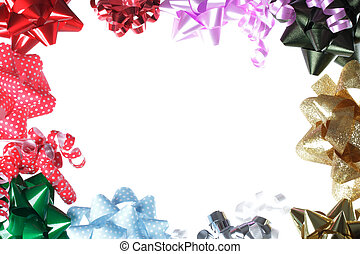 Gift Bow Border with White Background