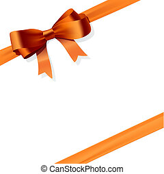 Gift bow - Vector illustration of an orange gift bow