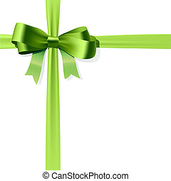 Gift bow - Vector illustration of green gift bow