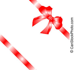gift bow with red ribbon isolated