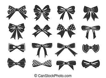 Gift bows black glyph vector icons set