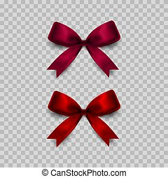 Gift bows set on transparent background. Red and pink. Vector