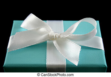 Gift Box 3 - Delicate powder blue gift box with silver bow.