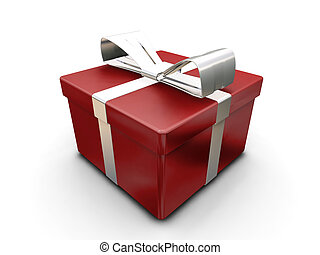 Gift box - 3D render of a wrapped gift box