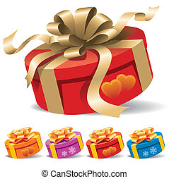 A round gift box with a ribbon on white background, vector illustration