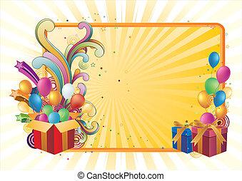celebration background - gift box and balloon, celebration ...