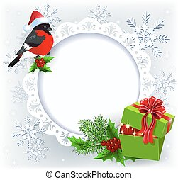 Gift box and bullfinch in Santa Claus hat with Christmas decoration round frame