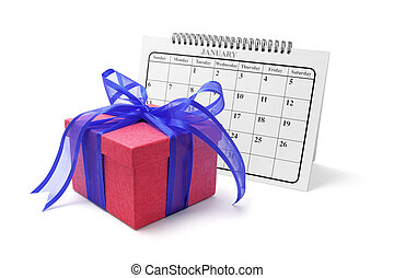 Gift Box and Calendar on Isolated White Background