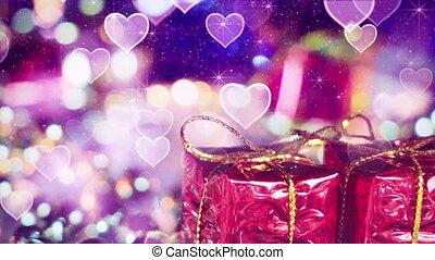gift box and heart bokeh lights seamless loop