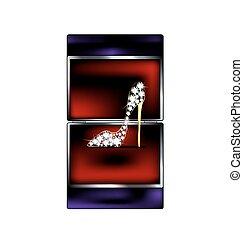 gift box and jewel shoe - dark background, black red gift...