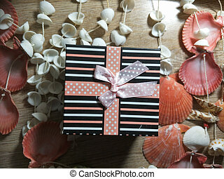 gift box and orange for celebration