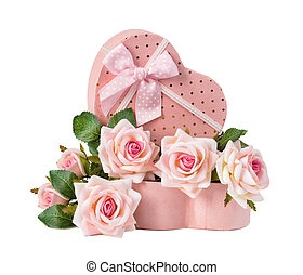 Gift box and rose flowers