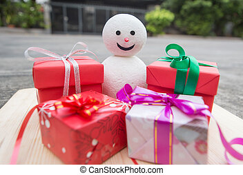 Gift box and snowman decoration