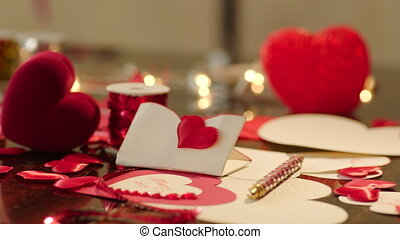 Gift box and valentines on Valentines Day