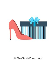 Gift Box and Woman Shoes Flat Design