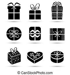 Gift box black icon set different styles
