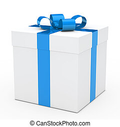 gift box blue ribbon - christmas white gift box with blue...