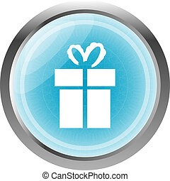 gift box blue web button isolated on white