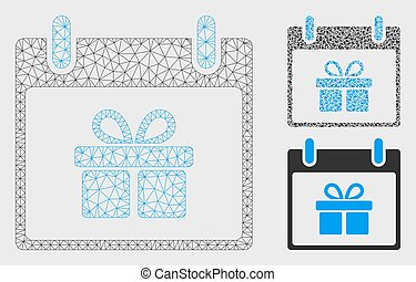 Gift Box Calendar Day Vector Mesh Wire Frame Model and Triangle Mosaic Icon