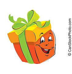 Gift Box cartoon with funny face