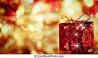 gift box christmas decoration and stars seamless loop