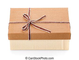 Gift box close up on white background.