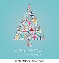 gift box colorful christmas tree