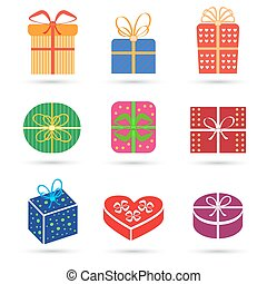 Gift box colorful icon set different styles