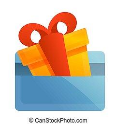 Gift box credit card icon, cartoon style