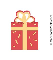 Gift Box Decorated with Bow Vector Illustration