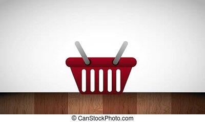 gift box falling in shopping basket commerce