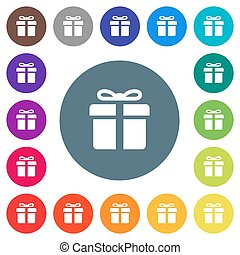 Gift box flat white icons on round color backgrounds