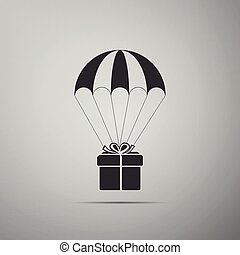 Gift box flying on parachute icon isolated on grey background. Delivery service, air shipping concept, bonus concept. Flat design. Vector Illustration