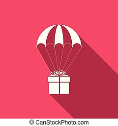 Gift box flying on parachute icon isolated with long shadow. Delivery service, air shipping concept, bonus concept. Flat design. Vector Illustration